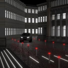 BAR F - серия светящихся светодиодных парковочных столбиков для ограждения тротуаров и пешеходных зон
